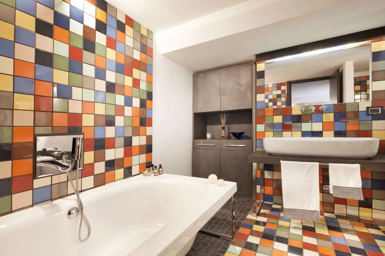 Дизайн жилой комнаты плиткой